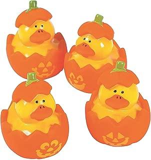 Fun Express Mini Jack O Lantern Pumpkin Rubber Duckies (Set of 12) Halloween Toys