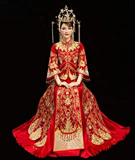 HangErFeng Chinese Wedding Tang Costume Suit Dresses Embroidered Ironing Beads Bride Beading Red Cheongsam