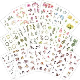 1000Art Nature Stickers Set(18 Sheets / 200+) Flowers Leaves Birds Stickes for Cards,DIY Arts and Crafts,Life Daily Planner,Journals,Scrapbooks,Calendars, Album
