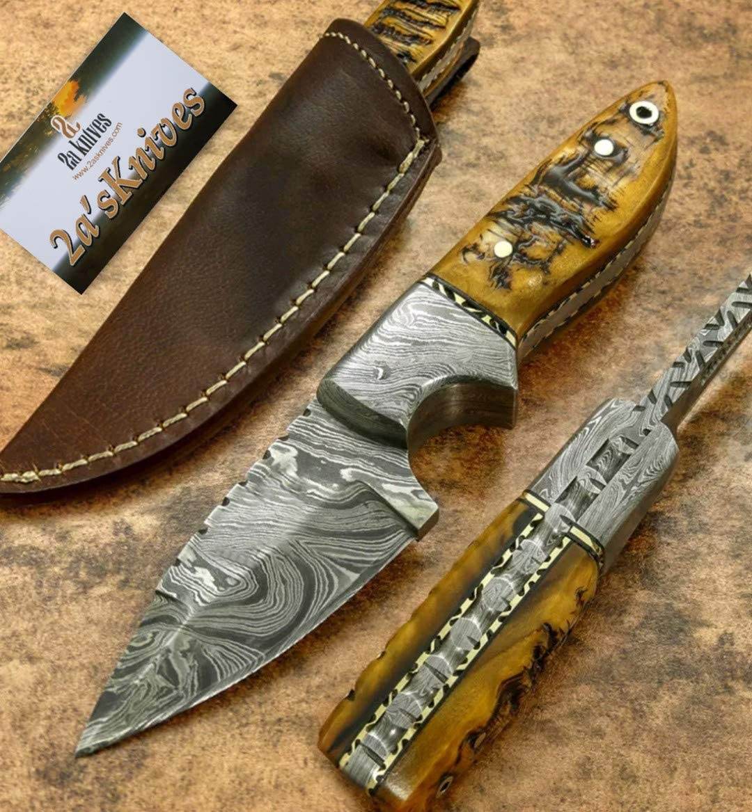 Custom Handmade unisex Damascus Steel Hunting Selling Knife.- Skinner