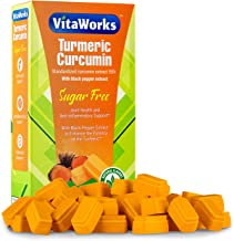 VitaWorks Turmeric Curcumin Sugar Free Orange Chocolate Vitamin Chew, w/Black Pepper Extract, GMO Free & Gluten Free, Grea...