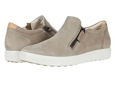 ECCO Soft 7 Side-Zip Sneaker (Warm Grey Cow Nubuck) Women