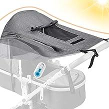 Dioxide Universal Kinderwagen Sonnensegel mit UV Schutz 50 und Wasserdicht,Sichtfenster und extra breite Schattenflügel, Verstellbar Sonnenschutz für Kinderwagen Buggy Grau