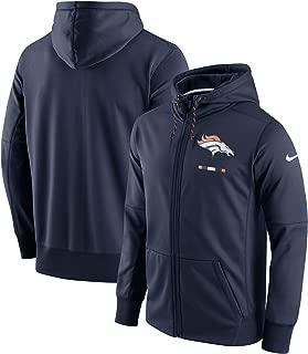 Nike Men's Denver Broncos Sideline Logo Therma-Fit Performance Full-Zip Hoodie Navy Blue (Small)
