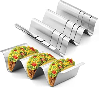 Taco Holder Stand,Set of 4 Stainless Steel Taco Tray,Stylish Taco Shell Holders, Rack Holds Up to 3 Tacos Each Keeping She...