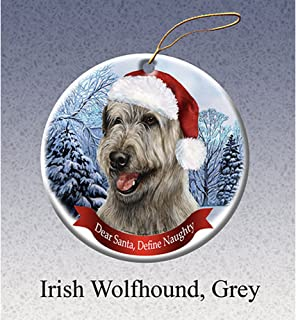 Best Holiday Pet Gifts Irish Wolfhound, Grey Santa Hat Dog Porcelain Ornament Review