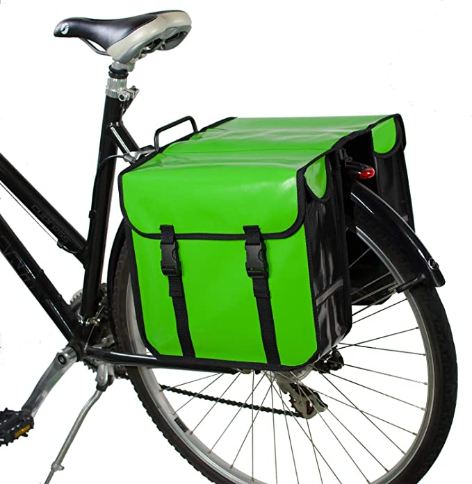 BLUE DOUBLE BICYCLE PANNIER BAG REAR BIKE RACK CARRIER WATER RESISTANT NYLON
