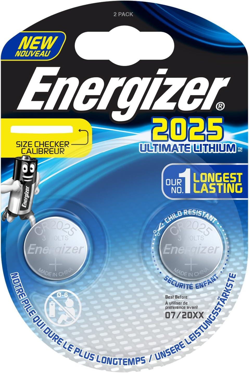 Energizer E301319400 Spezialbatterie Lithium Cr Typ 2025 2 Stück Chrom