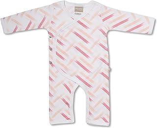 Babyushka Pink Stripes Organic Long Sleeve Kimono Jumpsuit, 3-6 Months (00)