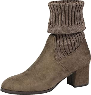 DREAM PAIRS Women's Fold Down Block Heel Ankle Booties