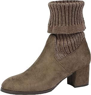 DREAM PAIRS Women's Fold Down Block Heel Ankle Booties