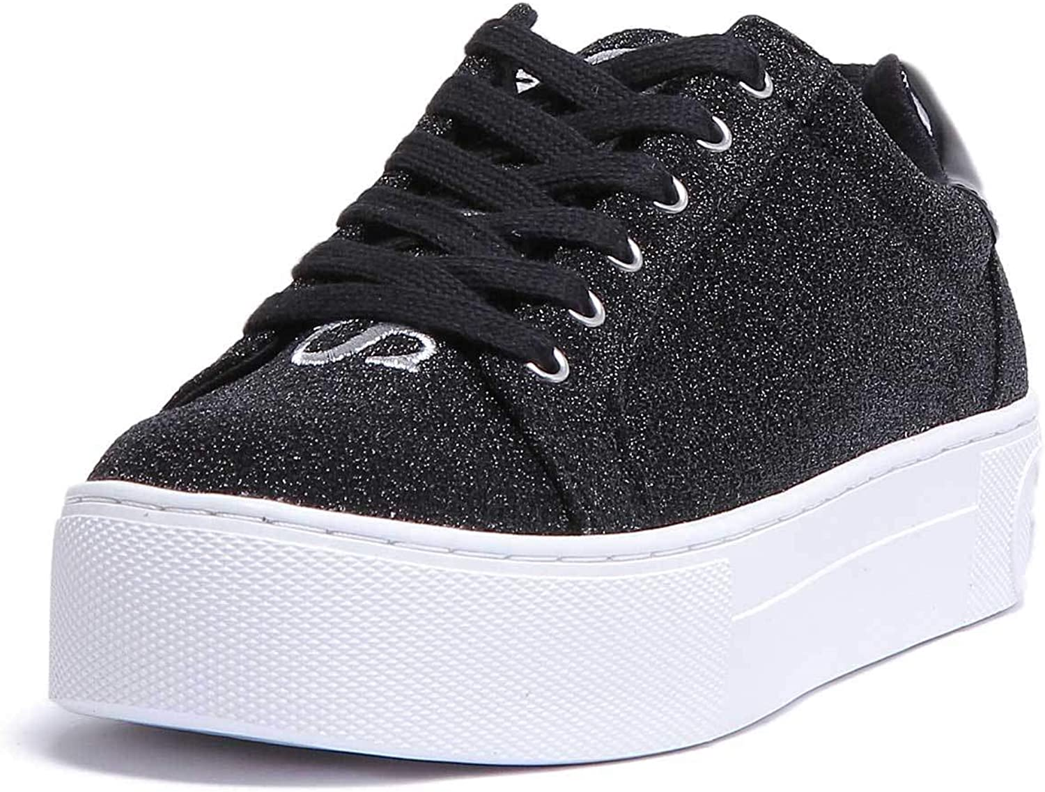 GUESS Flmea4Fam12 Womens Black White Synthetic Trainer
