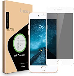 ICHECKEY Privacy Screen Protector for iPhone 8 Plus/ 7 Plus - ICHECKEY 3D Curved Anti-Spy Anti-Peeping Tempered Glass Screen Cover Shield for iPhone 8 Plus/ 7 Plus, 5.5 Inch – White