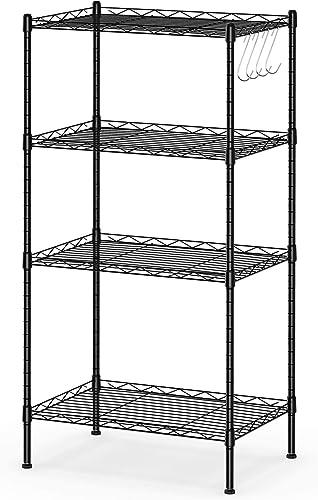 "2021 Giantex 4-Shelf Storage Shelving Unit, Heavy Duty Wire Racks, discount Adjustable Storage Shelves, Utility Rack popular with 4 Hooks, Steel Organizer, 18""x12""x35.5"" (Black) outlet sale"
