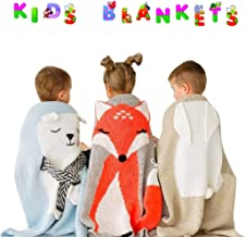 Super Soft Baby Blanket for All Seasons, Cozy Toddler Bed Crib, Cuddling Blanket, Playing Rug, Baby Quilt, Bed Cover for Kids, Hypoallergenic & Breathable Throw Blanket, Fluffy Yarn Knit Fox Design