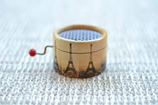 Vals d'Amelie hand cranked Music Box decorated with the Eiffel Tower Paris