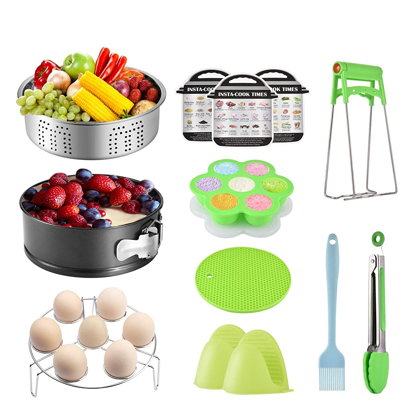 Pressure Cooker Accessories For Instant Pot 5 6 8 qt with Silicone Egg Bite Mold, Basting brush, Steamer Baskets, Springform Pan, Kitchen Tong, Oven Mitts, and More - 12 Pcs