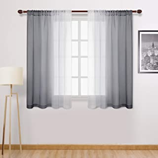 DWCN Grey Ombre Sheer Curtains - Faux Linen Semi Voile Rod Pocket Gradient Curtains for Bedroom and Living Room, Set of 2 Window Curtain Panels, 52 x 54 Inch Length