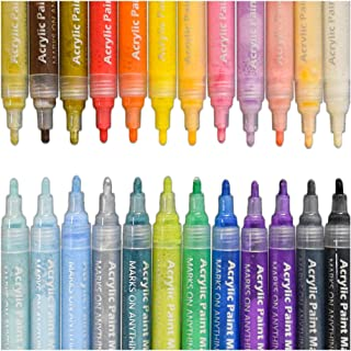 Acrylic Paint Pens,SAYEEC Set of 24 Assorted Colours Permanent Marker Pens for Glass Painting,Ceramic,Porcelain,Rock,Wood,Fabric, Canvas,Best Choice for Custom Mug Design,Rock Painting,DIY Projects