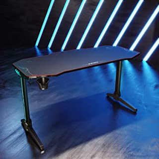 SONNI Gaming Tisch mit LED,140cm großer Oberfläche/PC Tisch/Gaming Desk,2-3 Monitore aufstellbar mit Mausunterlage,Getränk...