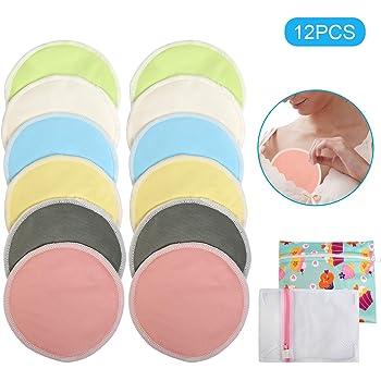 almohadillas de mama reutilizables de color almohadillas de lactancia ultra suaves # 1 MEJORES almohadillas de lactancia de bamb/ú org/ánicas lavables -8 PAQUETE almohadillas de sujetadores 4 pares