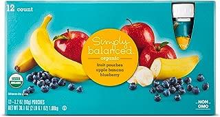 Apple Banana Blueberry Fruit Pouch 12ct - 3.2oz - Simply Balanced