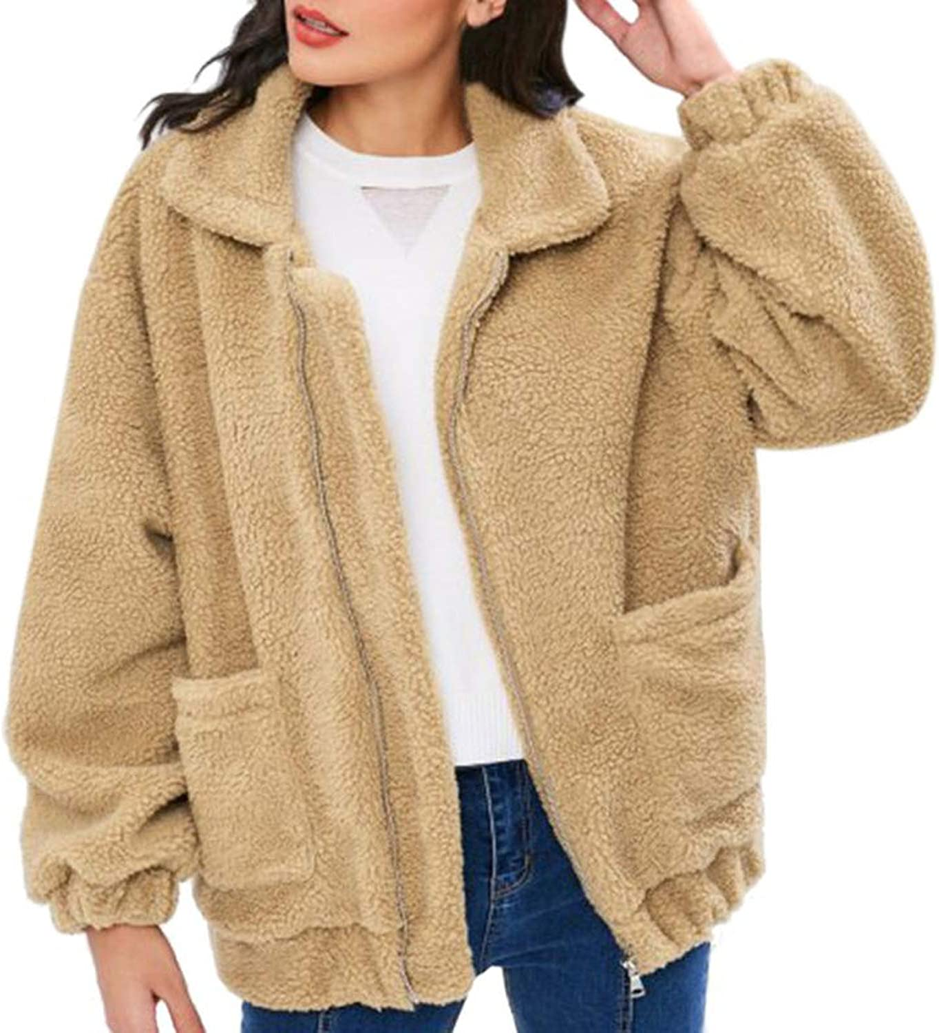 I'm good at you New Casual Faux Fur Coat Women Autumn Warm Soft Zipper Fur Jacket Female Plush Overcoat Outerwear