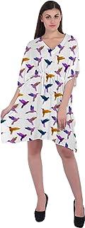 RADANYA Women's Bird Casual Loose Short Kaftan Dress 3/4 Sleeve Cotton Caftan