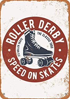 Fersha 8 x 12 Inches Metal Sign - Roller Derby - Vintage Look Bar Wall Decor Art Signs