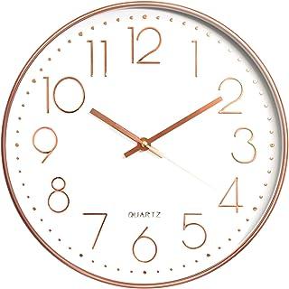 Aischens Reloj de Pared Moderno Grandes Decorativos Silencioso Interior Reloj de Cuarzo de Cuarzo Redondo No-Ticking para ...