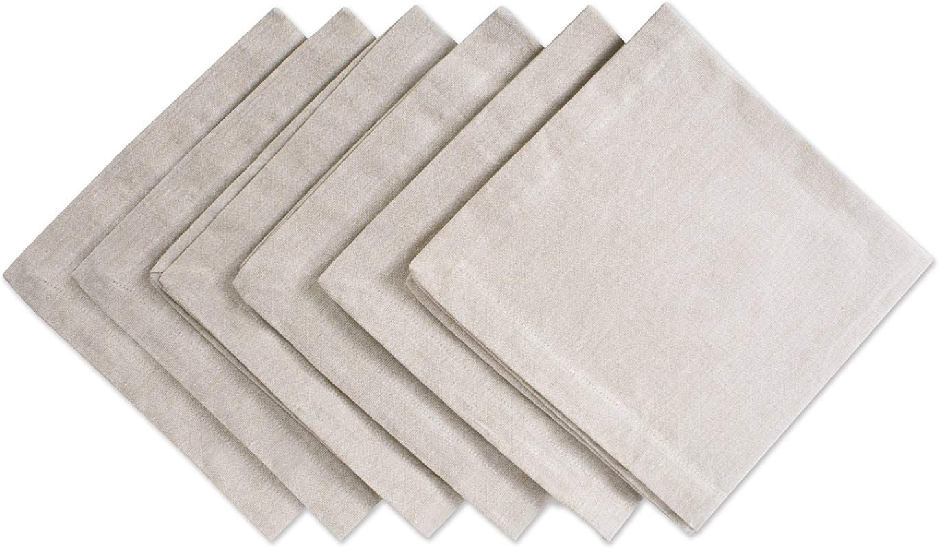 DII CAMZ36975 100 Cotton Oversized Basic Everyday 20x20 Napkin Set Of 6 Chambray Natural