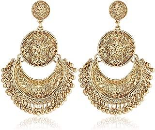 Vintage Bohemian Indian Oxidized Gold Lotus Pattern Drop Chandelier Earrings for Women - SHUHONEY Collection