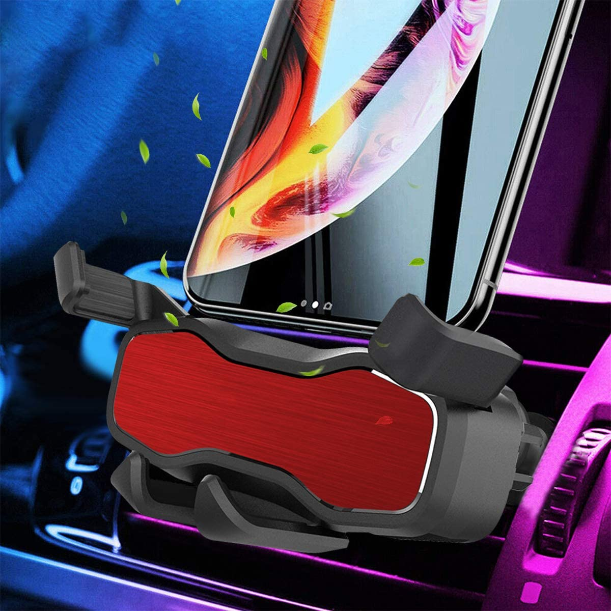 Handsfree Gravity Phone Holder for Car Air Vent Car Phone Mount Auto-Clamping Car Phone Holder for iPhone Xs Max Xr Samsung Galaxy S10 Plus S10e Google Pixel 3a and All Smartphone(Red)