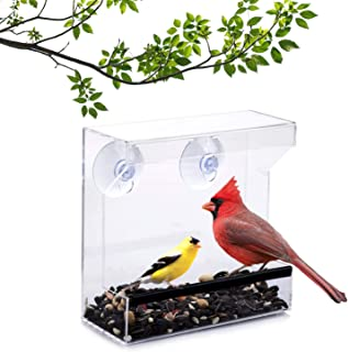 Wild Birds of Joy Window Bird Feeder with Super Strong Suction Cups and High Capacity Seed Tray with Drain Holes, Small, Compact, Clear Acrylic, Easy Clean, Outside Feeders for Transparent Viewing