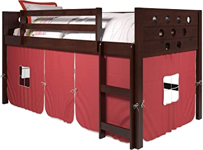 Donco Kids Circles Low Loft Bed with Tent, Twin, Dark Cappuccino/Red