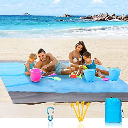 """Beach Blanket, Oversized Beach Mat 83"""" X 79"""" for 4-7 Adults, Beach Blanket Waterproof Sandproof with 4 Stakes and 4 Corner Pockets, Sand Free Beach Blanket, Outdoor Blanket for Travel, Camping, Hiking"""