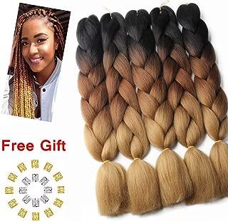 HAIR WAY 24inch Ombre Jumbo Braid Hair Extension 5 Pack 100g/PC Kanekalon Jumbo Braiding Hair for Twist Black-Dark Brown-Light Brown