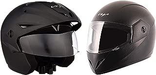 Vega Cruiser CR-W/P-DK-M Open Face Helmet with Peak (Dull Black, M) with Cliff CLF-LK-L Full Face Helmet (Black, L) Combo