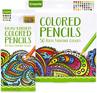 Crayola 50ct Colored Pencils with 12ct Dual-Ended Colored Pencils, Gift (Amazon Exclusive)