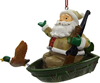 On Holiday Duck Hunting Camo Santa in Boat with a Rifle Christmas Tree Ornament