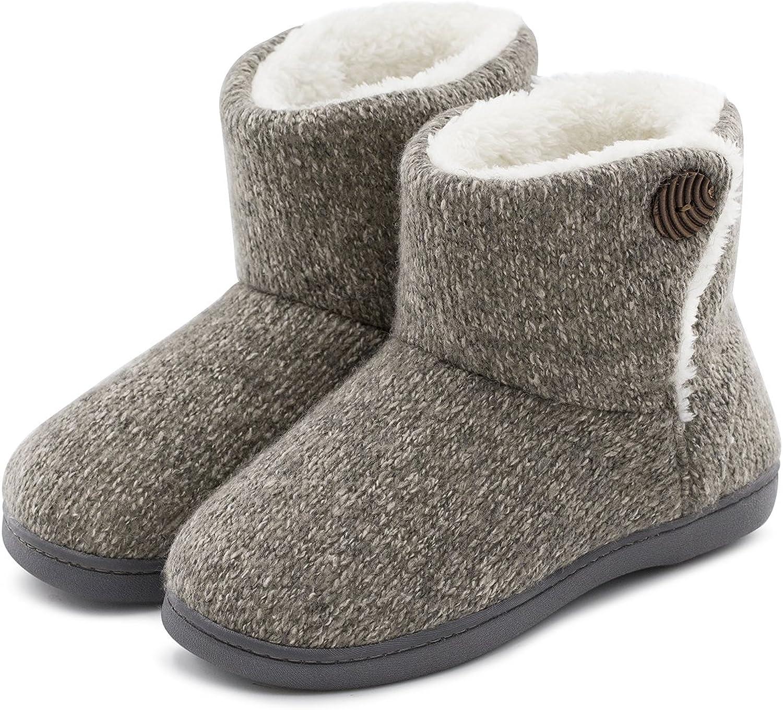 ULTRAIDEAS Women's Comfort Woolen Yarn Woven Bootie Slippers Memory Foam Plush Lining Slip-on House shoes w Anti-Slip Sole, Indoor, Outdoor