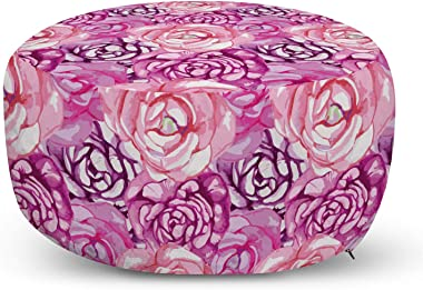 Ambesonne Flower Pouf Cover with Zipper, Print of Rose Bloom Petals Blossom Summer Vintage Romantic Divine Foliage, Soft Deco