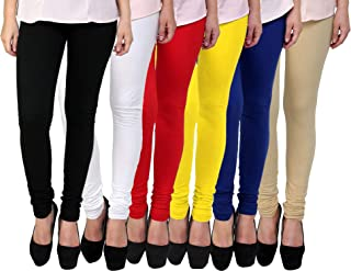 Fablab Women's Cotton Churidar Leggings Set(FLCLCOMBO6-9,BlackWhiteRedYellowBlueBeige,FREE SIZE) Combo Pack of 6