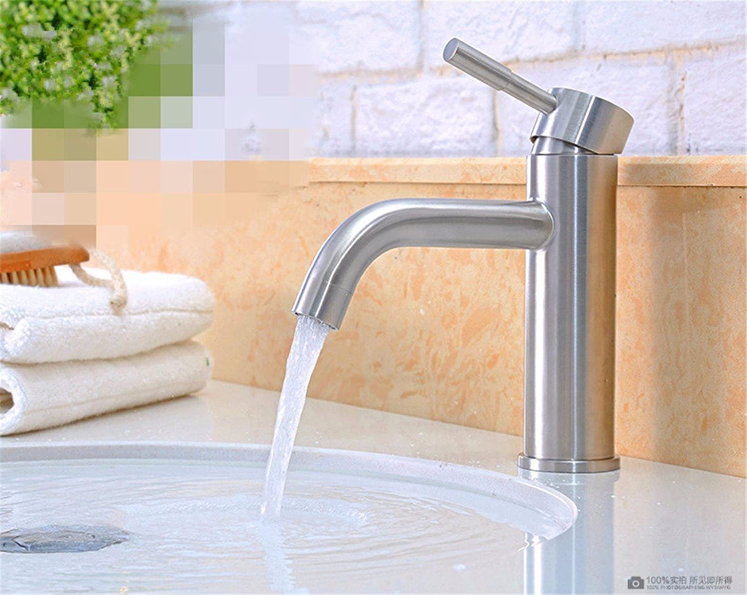 AQMMi Bathroom Sink Faucet Basin Mixer Tap Modern Single Hole Single Lever Hot and Cold Water Ceramic Valve Basin Sink Tap Bathroom Bar Faucet