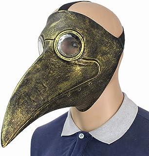 Lixinfushi Máscara del Doctor De La Plaga Nariz Larga Pájaro Pico Steampunk Disfraz De Halloween Máscara (Oro)
