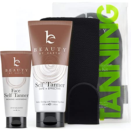 Self Tanner Bundle with Applicator - Tanning Lotion for Body & Face with Tanning Mitts, Sunless Tanner for Face & Self Tan for Body, Natural & Organic Full Size Face Tanner & Fake Tan for Body