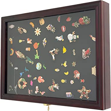 DECOMIL - Collector Medal/Lapel Pin, Honored Medallion Display Case Shadow Box Holder, Lockable, Front Opener Cabinet (Cherry