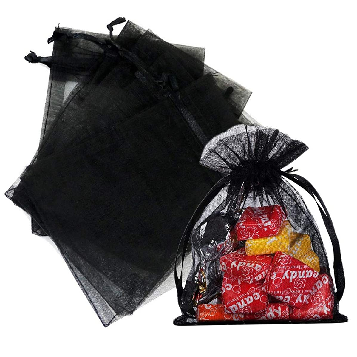 Outdoorfly 50PCS Drawstring Organza Bags 5x7 Inches Black Transparent Jewelry Favor Pouches Baby Shower Party Wedding Gift Bags Chocolate Candy Bags(50PCS Black)