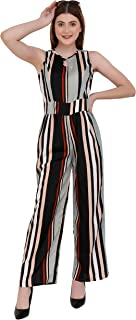 emeros Keyhole Neck Striped Jumpsuit with Waistband