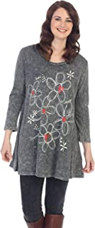 Jess & Jane Women's Lovely Charcoal Mineral Washed A-line Cotton Tunic